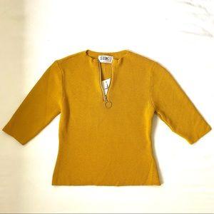 Seek mustard high neck knitted top
